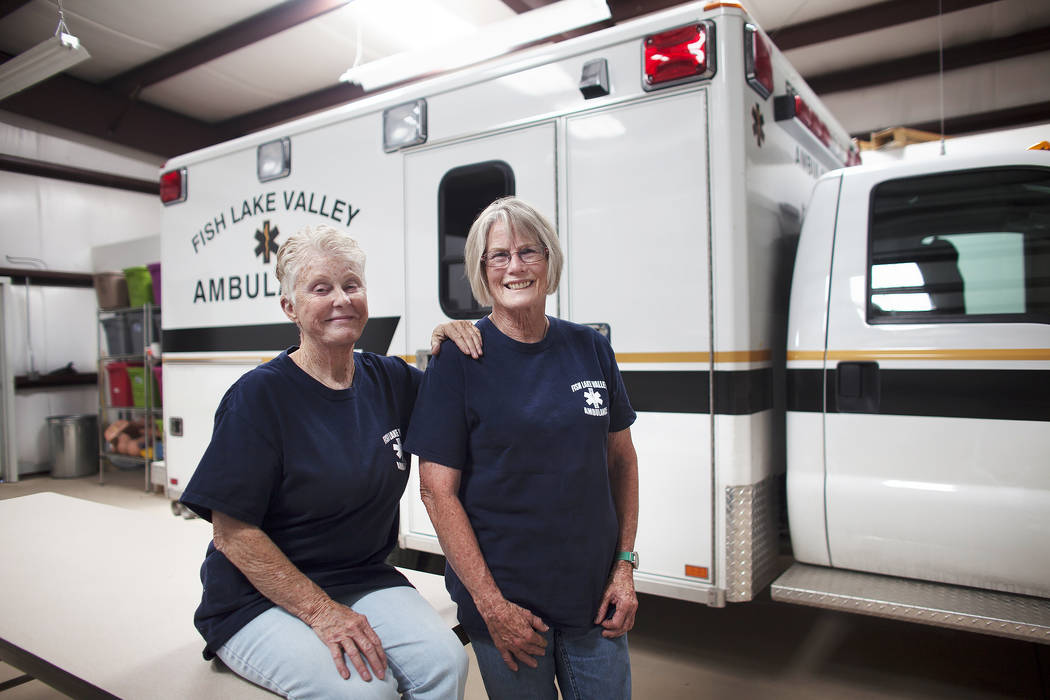 Advanced EMTs Val Trucksa, left, and Nancy Knighten on Tuesday, June 6, 2017, in Dyer, a small town in Esmeralda county. The county is one of the least populous in the nation, they cover 3,500 squ ...