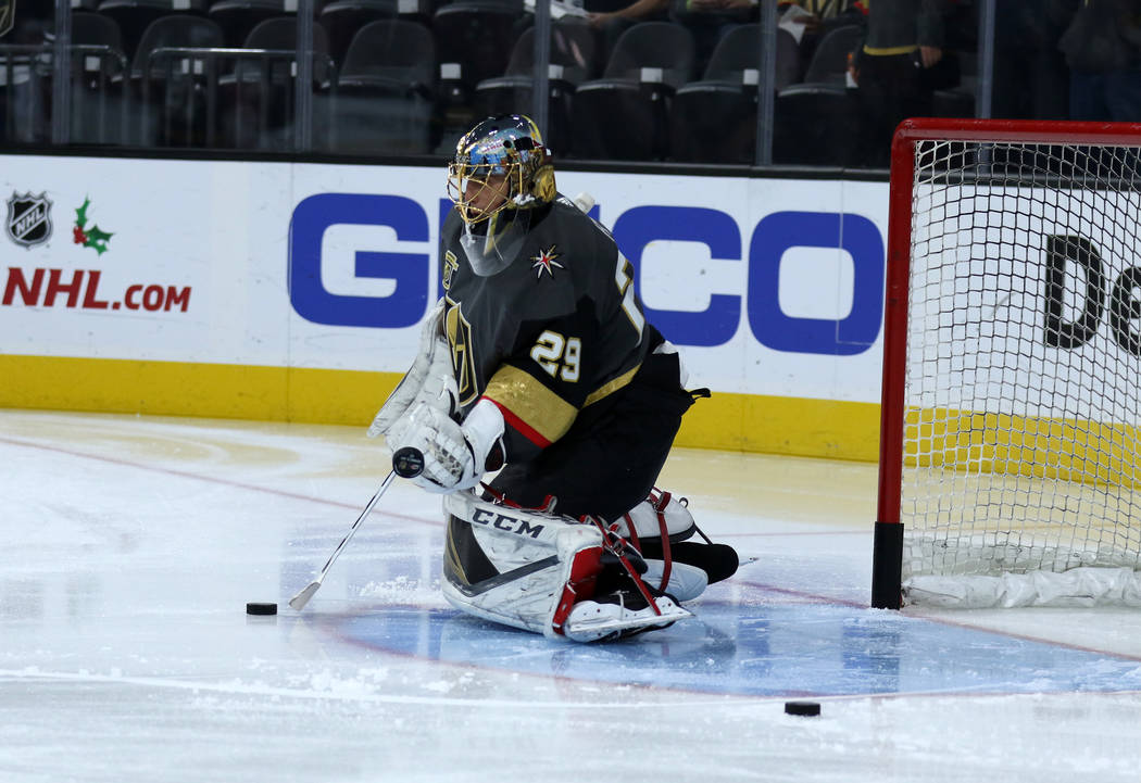 Vegas Golden Knights goalie Marc-Andre Fleury (29) works drills during warms up before a NHL game against the Carolina Hurricanes in Las Vegas, Tuesday, Dec. 12, 2017. Heidi Fang Las Vegas Review- ...