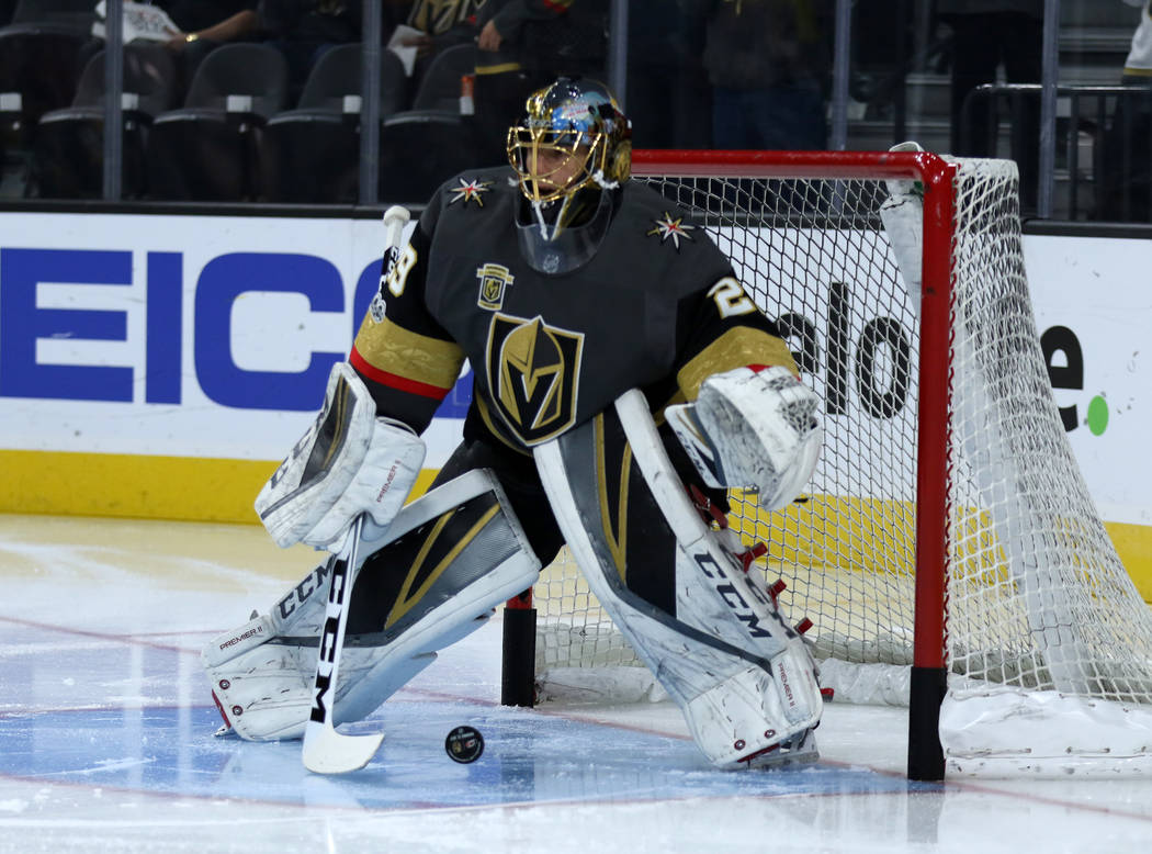 Vegas Golden Knights goalie Marc-Andre Fleury (29) goes through drills before a NHL game against the Carolina Hurricanes in Las Vegas, Tuesday, Dec. 12, 2017. Heidi Fang Las Vegas Review-Journal @ ...