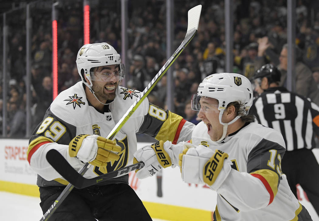 Vegas Golden Knights left wing Brendan Leipsic, right, celebrates his goal with right wing Alex Tuch during the third period of an NHL hockey game against the Los Angeles Kings, Thursday, Dec. 28, ...