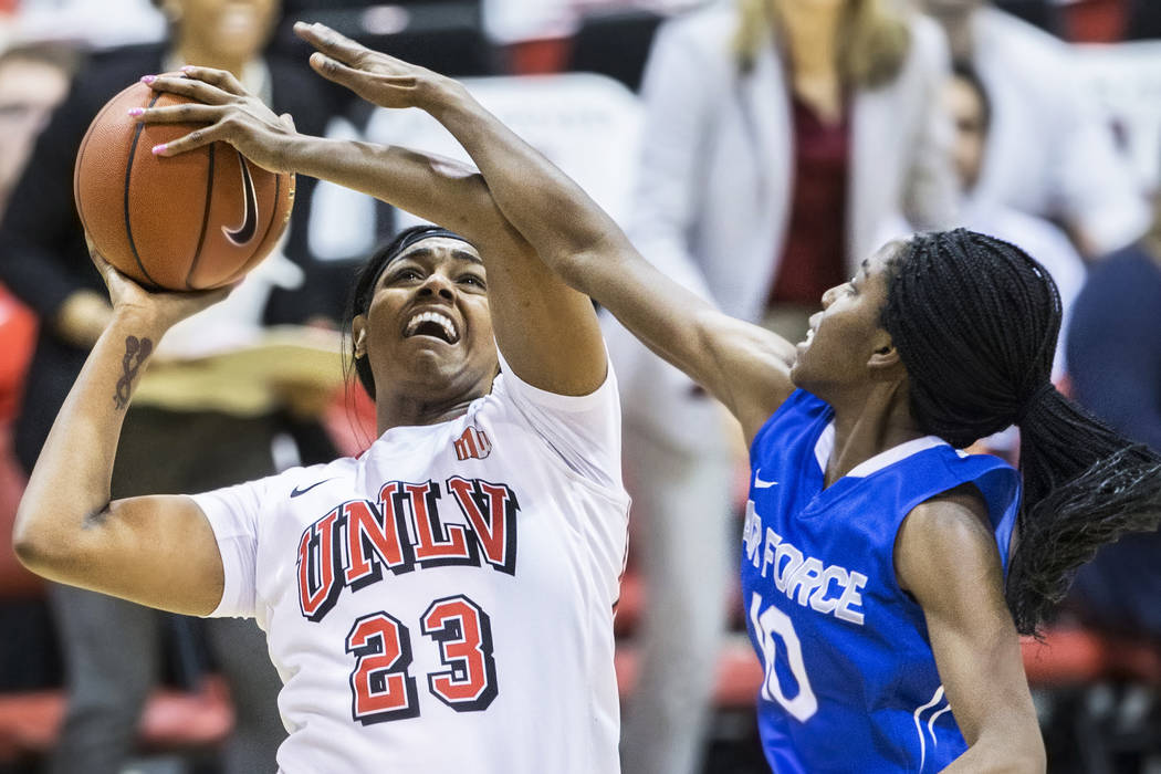 Jordyn Bell (23), shown last season, scored a career-high 14 points for UNLV in the Lady Rebels' loss to Buffalo in the consolation game of the Arizona State Classic on Sunday. (Benjamin Hager/Las ...