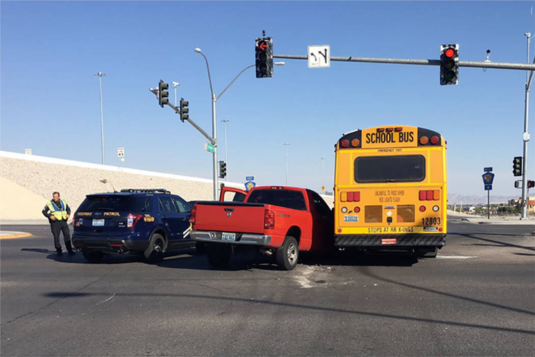 Clark County School District bus crash at 215 Beltway and Durango Road, Thursday, Oct. 19, 2017. (Nevada Highway Patrol via Twitter)
