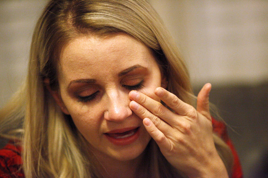 Chantal McCrorie tears up as she talks to the Review-Journal at her home in Las Vegas, Wednesday, Nov. 15, 2017. McCrorie survived the Route 91 shooting. She recalls a bullet shooting through her  ...