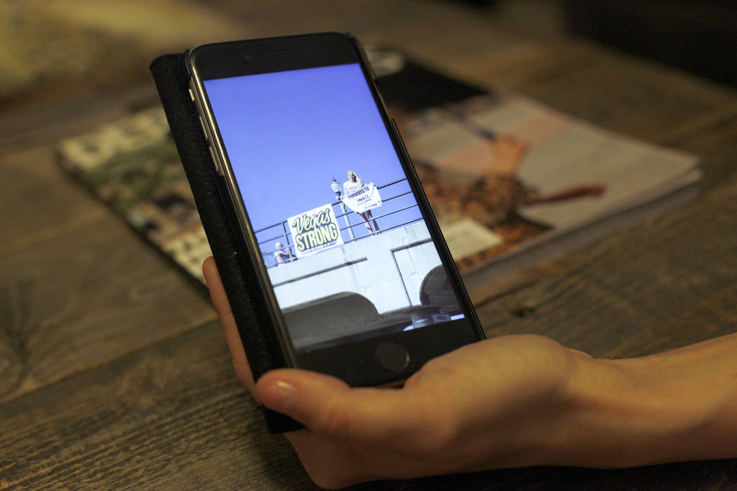Chantal McCrorie shows the Review-Journal a photo from her visit to the beach in California for her birthday following the shooting, at her home in Las Vegas, Wednesday, Nov. 15, 2017. McCrorie su ...