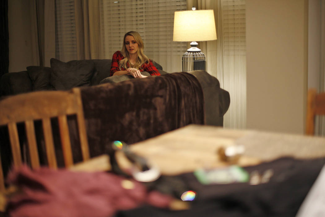 Chantal McCrorie talks to the Review-Journal as her clothing and accessories she wore the night of the Route 91 shooting rest on the table at her home in Las Vegas, Wednesday, Nov. 15, 2017. McCro ...