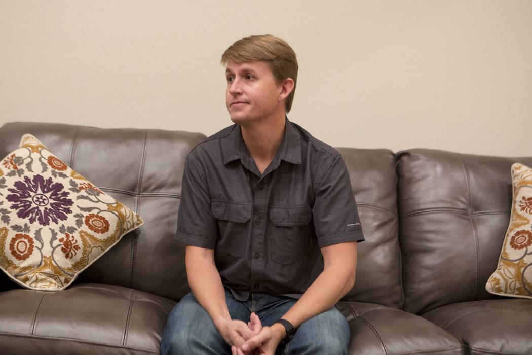 Shane Peterson speaks with a reporter at his home in Henderson on Nov. 15, 2017. Bridget Bennett Las Vegas Review-Journal @BridgetKBennett