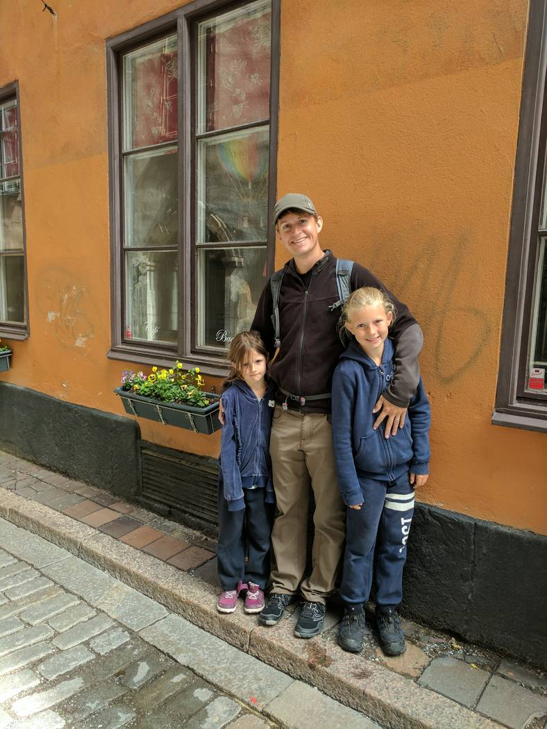 Shane Peterson with his two daughters, Frida, left, and Clara, during a trip to Stockholm, Sweden. Courtesy of Shane Peterson