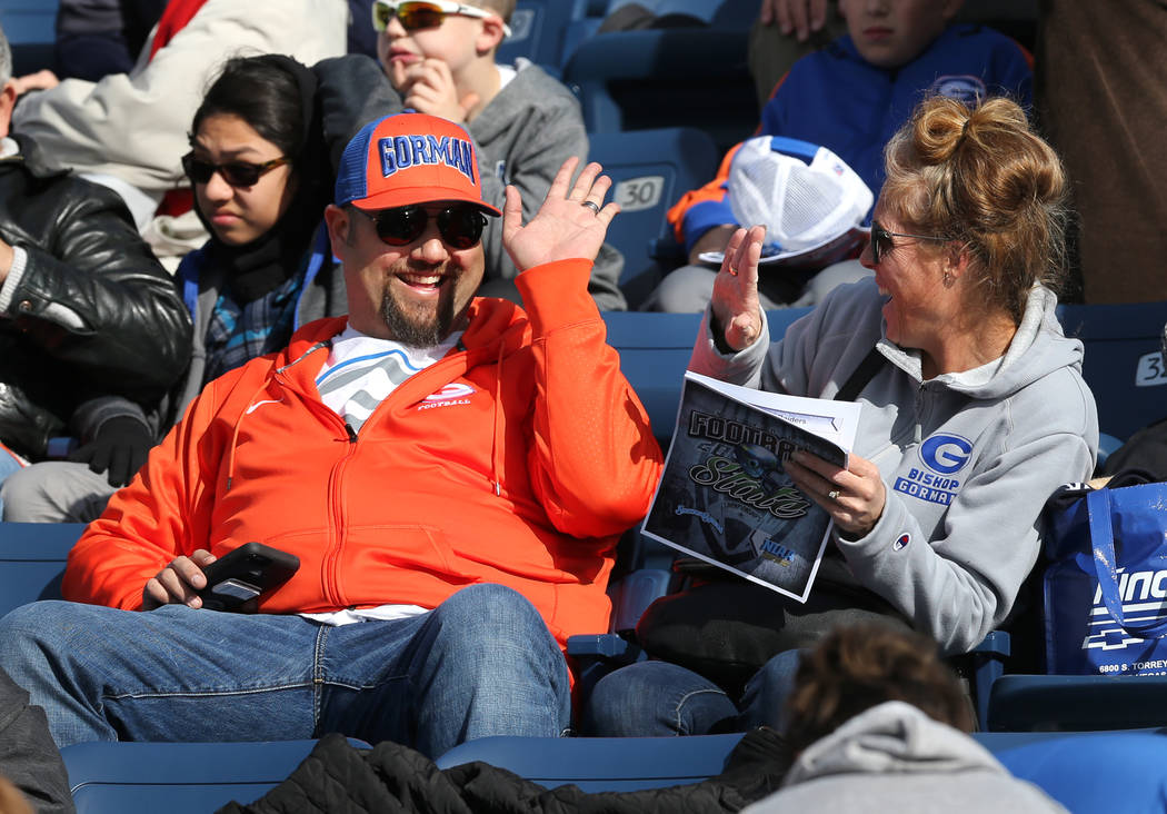 Bishop Gorman fans wait for the start of the NIAA state championship football game against Reed in Reno, Nev., on Saturday, Dec. 2, 2017. Gorman defeated Reed 48-7 for their ninth straight state t ...