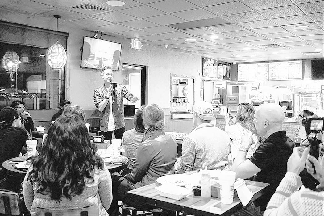 Think Media owner Sean Cannell talks to audience at YouTube Meetup event on Nov. 8, 2017 at Frijoles & Frescas, 2490 E. Desert Inn Road.