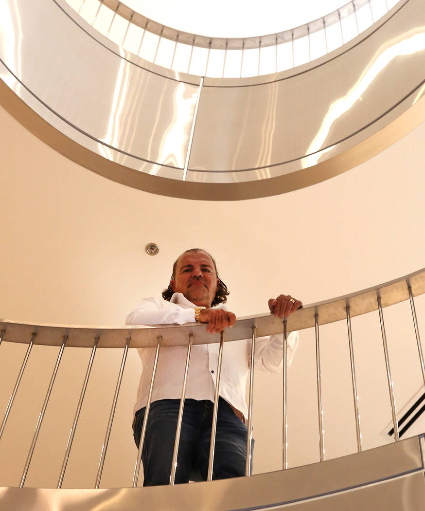 Investor Ofir Hagay on the spiral staircase inside his building at 8912 W. Spanish Ridge Ave., in Las Vegas on Thursday, Nov. 22, 2017. Bizuayehu Tesfaye Las Vegas Review-Journal @bizutesfaye