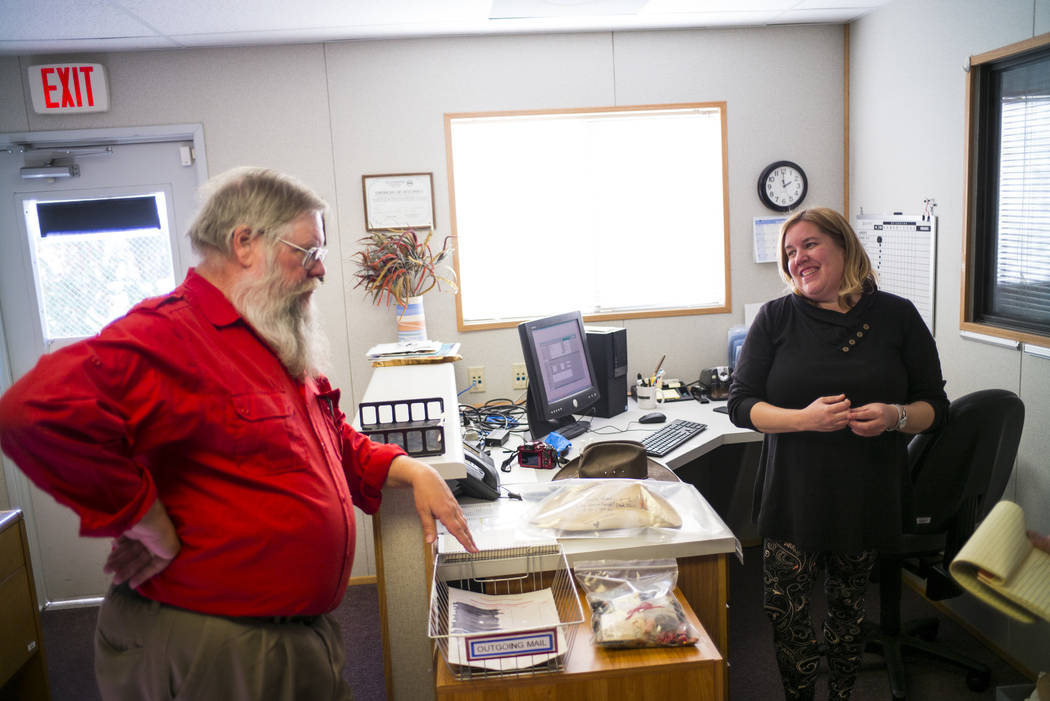Mark Hall-Patton, administrator at the Clark County Museum, left, and registrar Cynthia Sanford talk about the process of cataloging items from memorials relating to the Oct. 1 shooting at the mus ...