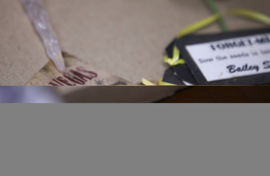 Items from memorials relating to the Oct. 1 shooting on the Las Vegas Strip are grouped into boxes at the museum in Henderson on Wednesday, Nov. 15, 2017.  Chase Stevens Las Vegas Review-Journal @ ...