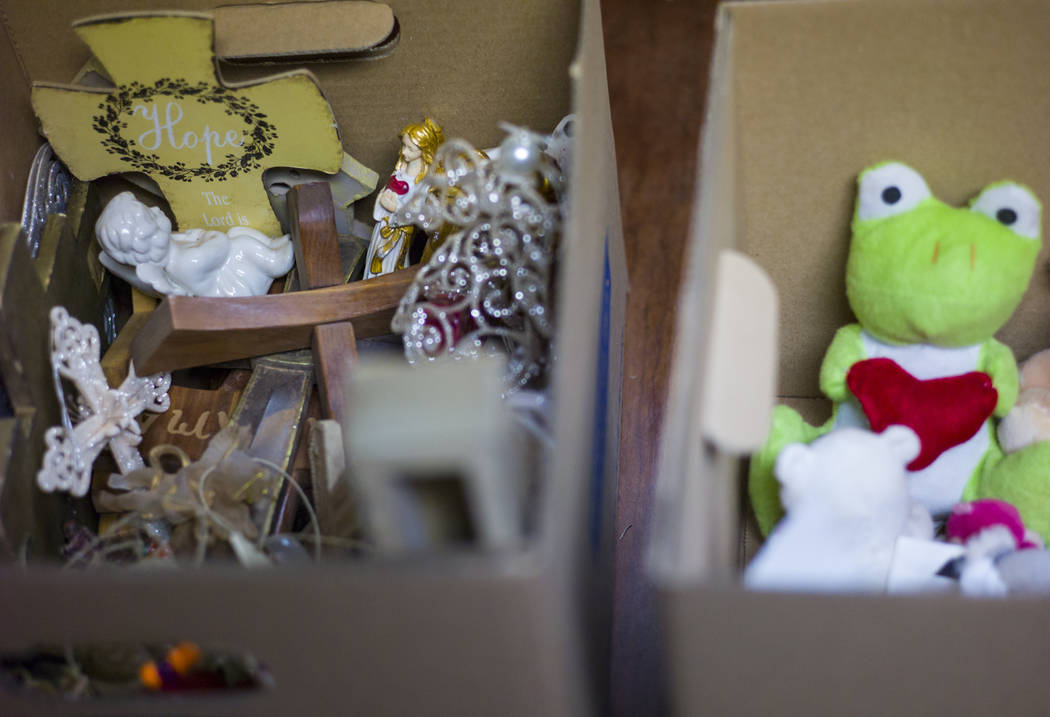 Items from memorials relating to the Oct. 1 shooting on the Las Vegas Strip are grouped into boxes at the museum in Henderson on Wednesday, Nov. 15, 2017. Chase Stevens Las Vegas Review-Journal @c ...