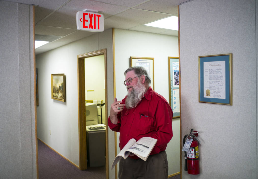 Mark Hall-Patton, administrator at the Clark County Museum, talks in Henderson on Wednesday, Nov. 15, 2017, about the many items the museum has received from memorials. Chase Stevens Las Vegas Rev ...
