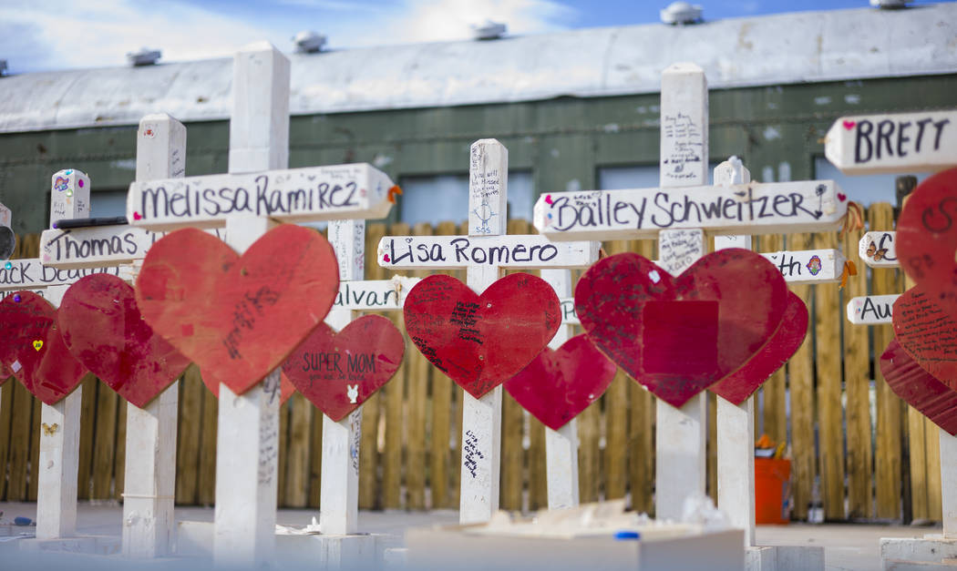"""Crosses that were moved from a makeshift memorial at the """"Welcome to Fabulous Las Vegas Sign"""" to the Clark County Museum on display in Henderson on Wednesday, Nov. 15, 2017. Chas ..."""