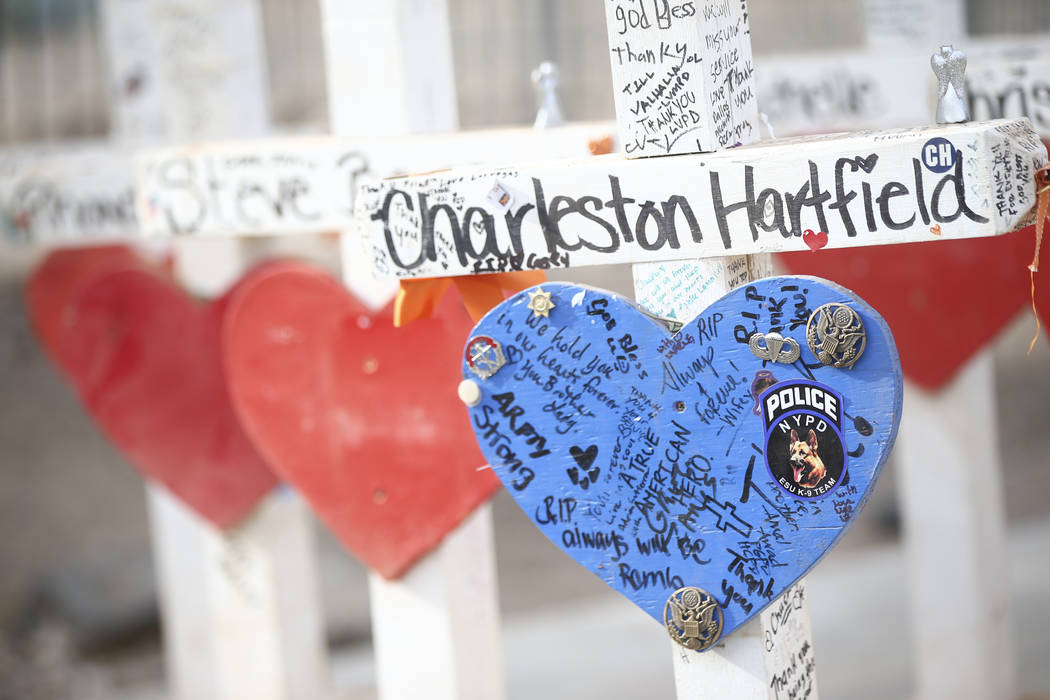 "Crosses that were moved from a makeshift memorial at the ""Welcome to Fabulous Las Vegas Sign"" to the Clark County Museum on display in Henderson on Wednesday, Nov. 15, 2017. Chas ..."