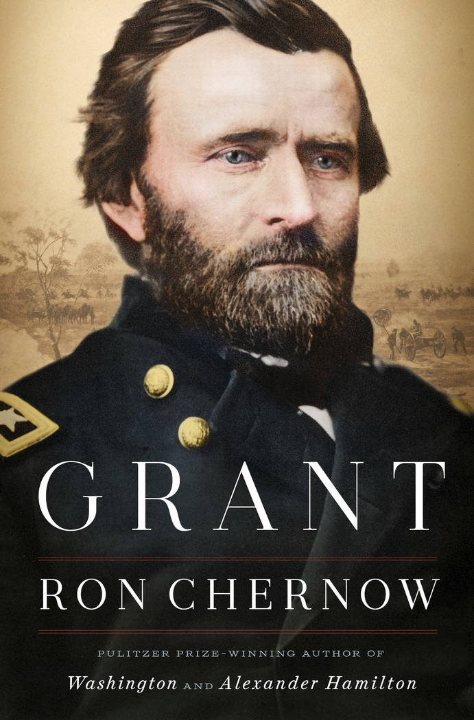 """This cover image released by Penguin Press shows """"Grant,"""" a biography by Ron Chernow. (Penguin Press via AP)"""