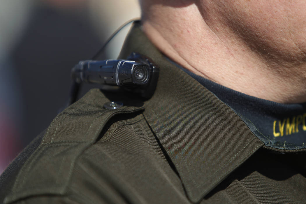 Las Vegas police Sgt. Peter Ferranti is photographed wearing a body camera during a media presentation at the Mojave Training Center in Las Vegas on Nov. 12, 2014. (Erik Verduzco/Las Vegas Review- ...