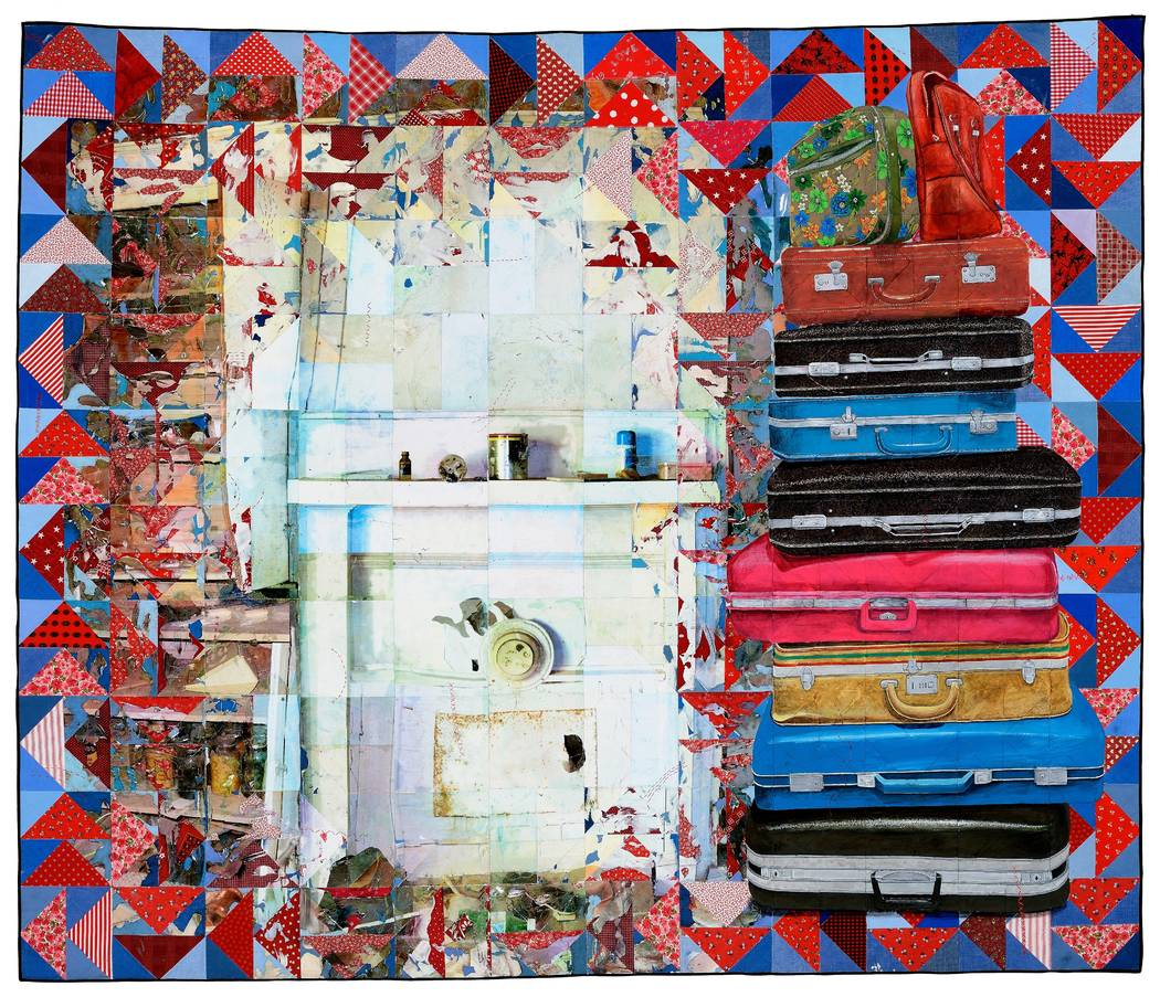 """Jeana Eve Klein """"Carry On"""" -- Acrylic paint and inkjet printing on recycled fabric_machine-pieced and hand-quilted"""