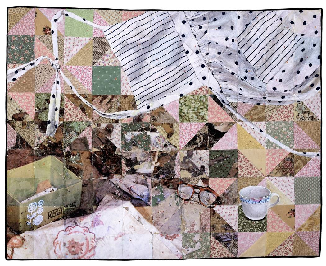 """Jeana Eve Klein """"Done"""" -- Acrylic paint and inkjet printing on recycled fabric_machine-pieced and hand-quilted"""