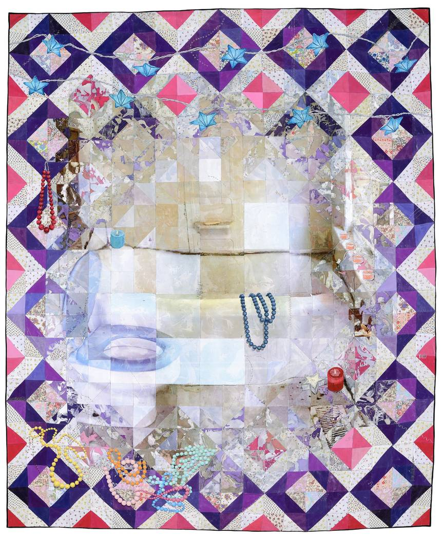"""Jeana Eve Klein """"The End Of Romance"""" --Acrylic paint and inkjet printing on recycled fabric_machine-pieced and hand-quilted"""
