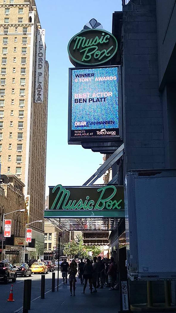 "The Music Box Theater's marquee advertises Tony winner ""Dear Evan Hansen"" (Marty Berry)"