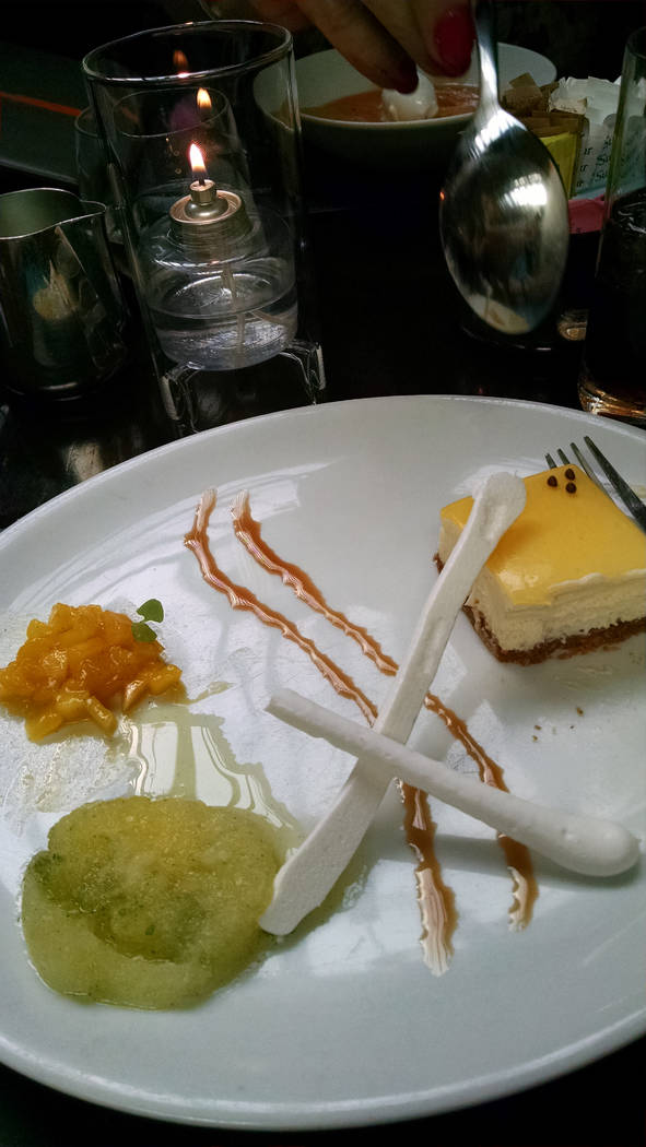 Dessert at Scarpetta NYC - creme fraiche cheesecake with mango compote and basil granita (Marty Berry)