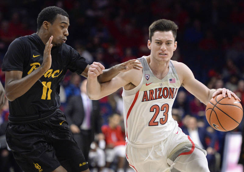 Nov 29, 2017; Tucson, AZ, USA; Arizona Wildcats guard Alex Barcello (23) dribbles against Long Beach State 49ers guard Jordan Griffin (11) during the first half at McKale Center. Mandatory Credit: ...