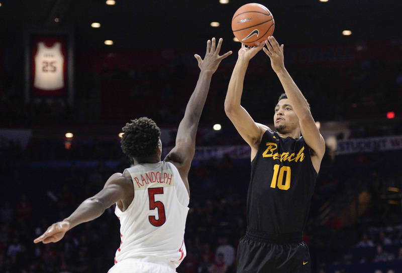 Nov 29, 2017; Tucson, AZ, USA; Long Beach State 49ers guard Bryan Alberts (10) shoots over Arizona Wildcats guard Brandon Randolph (5) during the first half at McKale Center. Mandatory Credit: Cas ...