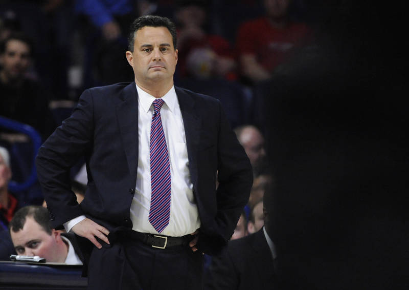 Nov 29, 2017; Tucson, AZ, USA; Arizona Wildcats head coach Sean Miller looks on during the first half against the Long Beach State 49ers at McKale Center. Mandatory Credit: Casey Sapio-USA TODAY S ...
