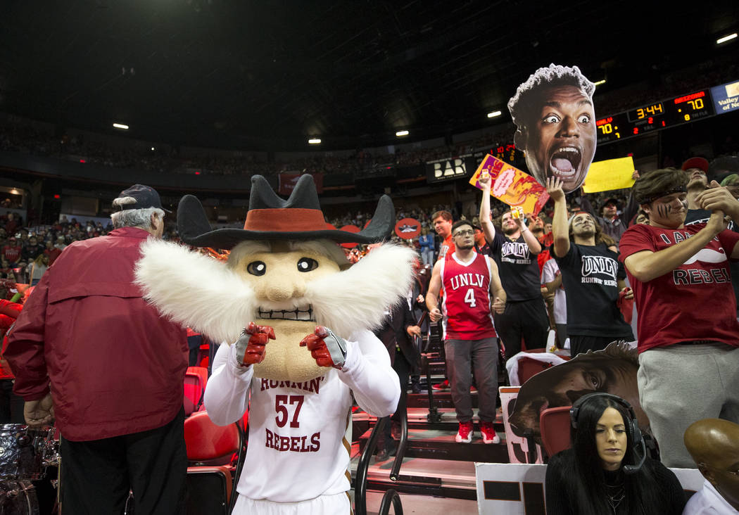 UNLV mascot Hey Reb hypes the crowd during the second half of an NCAA college basketball game against UNLV Rebels and Arizona Wildcats at Thomas & Mack Center in Las Vegas on Saturday, Dec. 2, ...