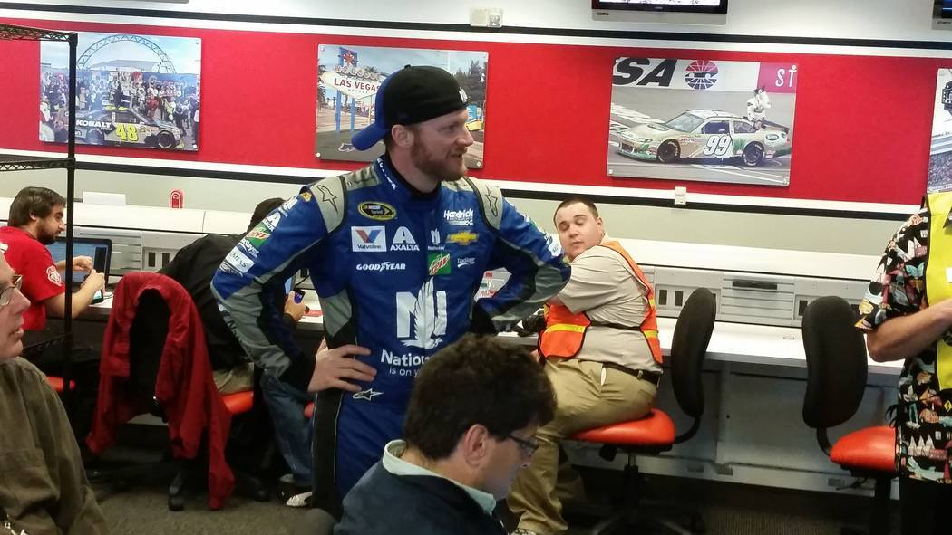 Dale Earnhardt Jr. rides out a weather delay with reports before the start of the 2016 Kobalt 400 at Las Vegas Motor Speedway. Ron Kantowski Las Vegas Review-Journal.