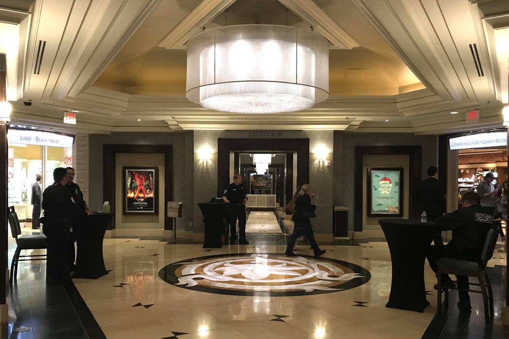 Security is present at the bottom of elevators that lead up to hotel rooms at Mandalay Bay hotel-casino in Las Vegas, Tuesday, Nov. 28, 2017. Bridget Bennett Las Vegas Review-Journal