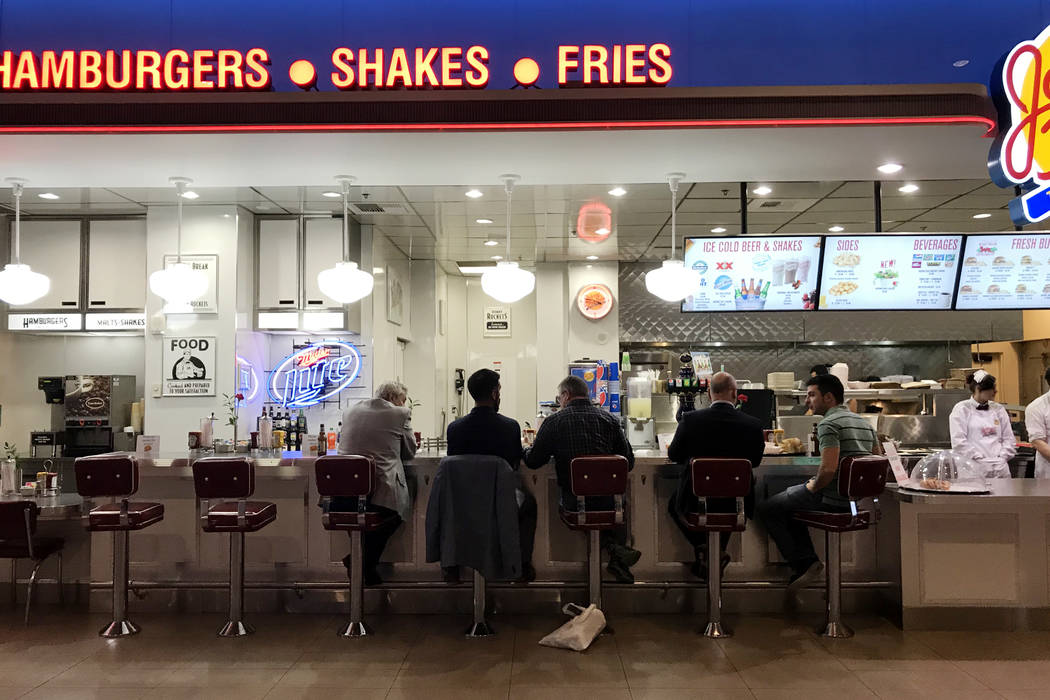 Patrons sit at a Johnny Rockets in a Mandalay Bay hotel-casino food court in Las Vegas, Tuesday, Nov. 28, 2017. Bridget Bennett Las Vegas Review-Journal