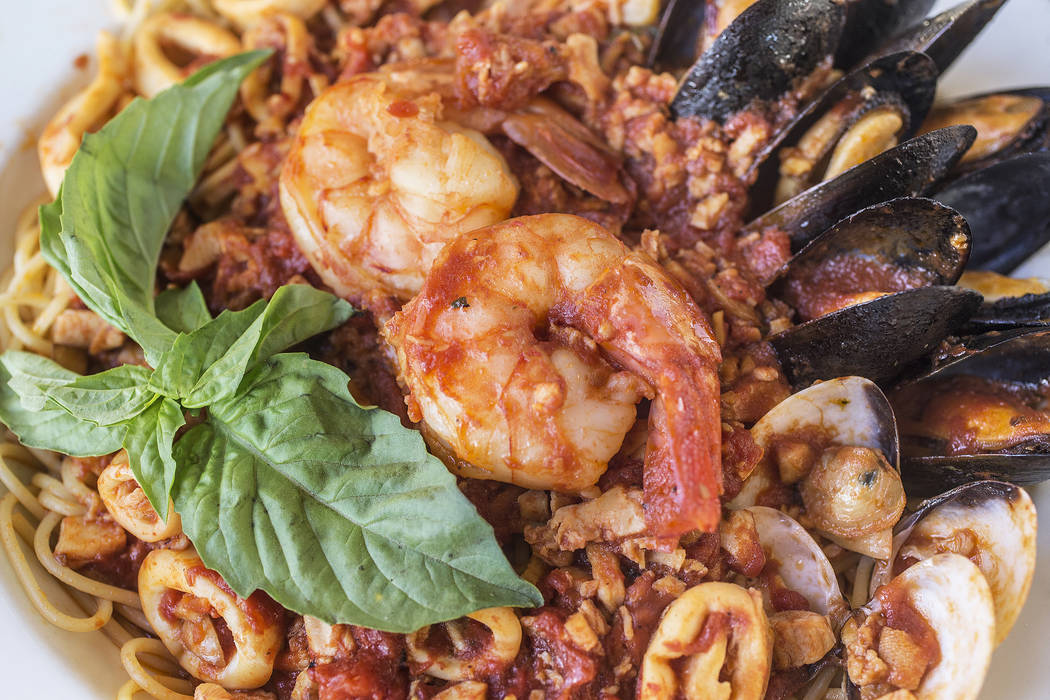 Seafood combo with littleneck clams, scungilli, shrimp, mussels and calamari in a marinara sauce over pasta at Anna Marie's Italian Cuisine on Friday, Nov. 24, 2017, in Las Vegas. Benjamin Hager L ...