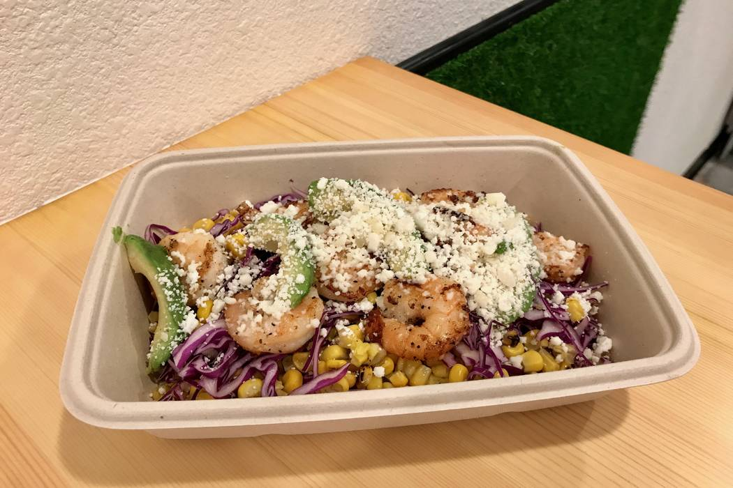 The Me Gusta Bowl with quinoa, roasted corn, red cabbage, avocado, queso fresco, mango dressing and shrimp ($12.00) at Me Gusta Tacos in Las Vegas, Sunday, Nov. 19, 2017. (Madelyn Reese/View) @Mad ...