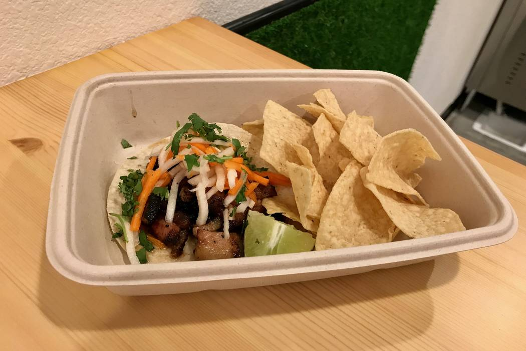 Pork belly banh mi taco with chips ($3.50) at Me Gusta Tacos in Las Vegas, Sunday, Nov. 19, 2017. (Madelyn Reese/View) @MadelynGReese