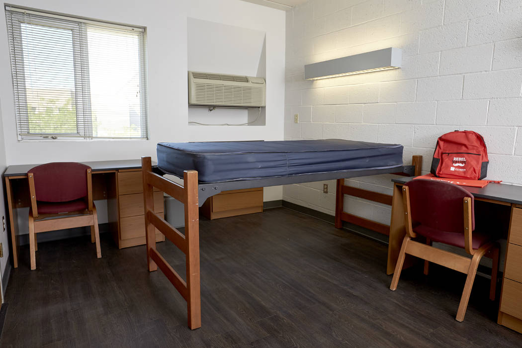 A recently remodeled residence hall room in South Hall. Stonewall Suites, a gender-inclusive LGBTQ residence hall floor in South Complex opens for the first time this semester. on August 22, 2017. ...