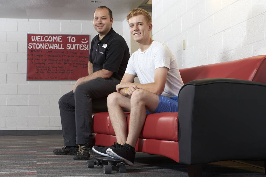 Residence hall coordinator Andrew Lignelli and resident assistant Sawyer Spackman were instrumental in developing Stonewall Suites, a gender-inclusive LGBTQ residence hall floor in South Complex o ...