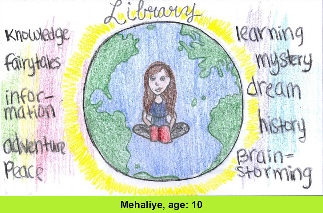 Mehaliye Abate, 10, was one of the six winners whose design was selected as part of the Las Vegas-Clark County Library District's #GetCarded contest. (Mehaliye Abate)