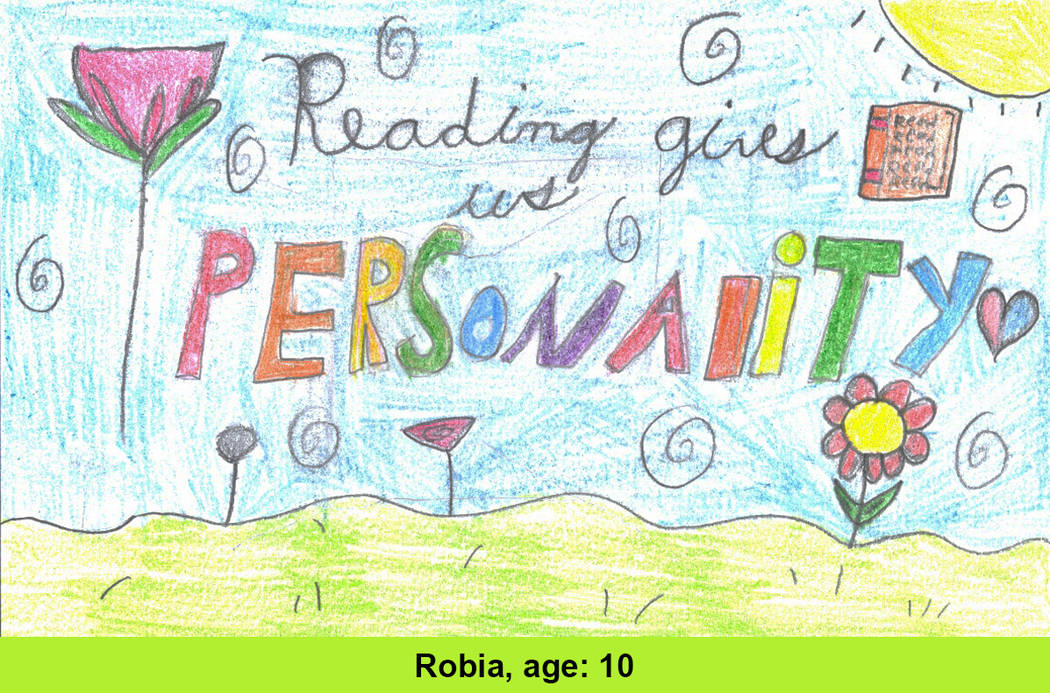 Robia Grasmick, 10, was one of the six winners whose design was selected as part of the Las Vegas-Clark County Library District's #GetCarded contest. (Robia Grasmick)