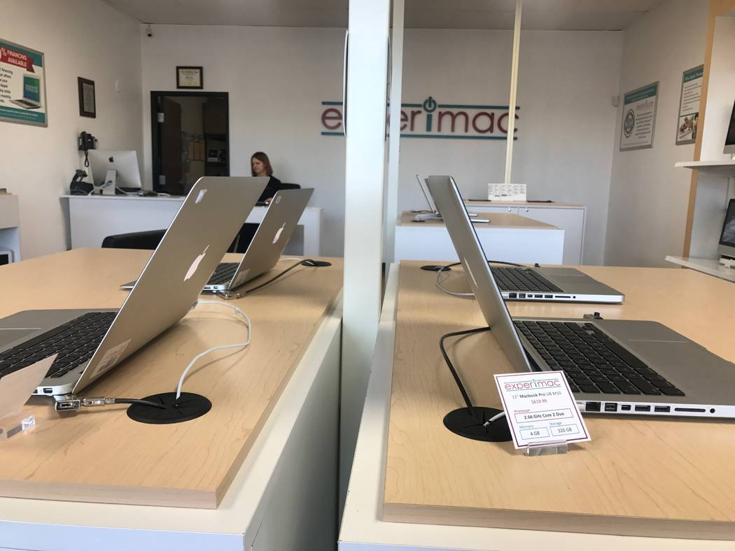 Apple products are displayed on Nov. 24, 2017 at Experimac, 5515 Camino Al Norte #105. (Kailyn Brown/View) @KailynHype