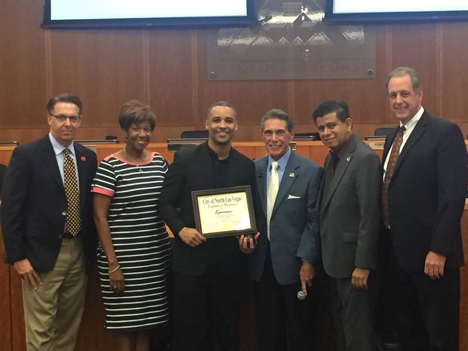 Experimac North Las Vegas owner Brando Younger was awarded for business of the month by the City of North Las Vegas in November at City Hall with him are from left, Councilman Scott Black, Council ...