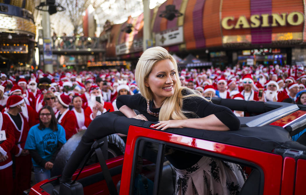 Holly Madison, grand marshal of the Las Vegas Great Santa Run, before the race starts in downtown Las Vegas on Saturday, Dec. 2, 2017. Chase Stevens Las Vegas Review-Journal @csstevensphoto