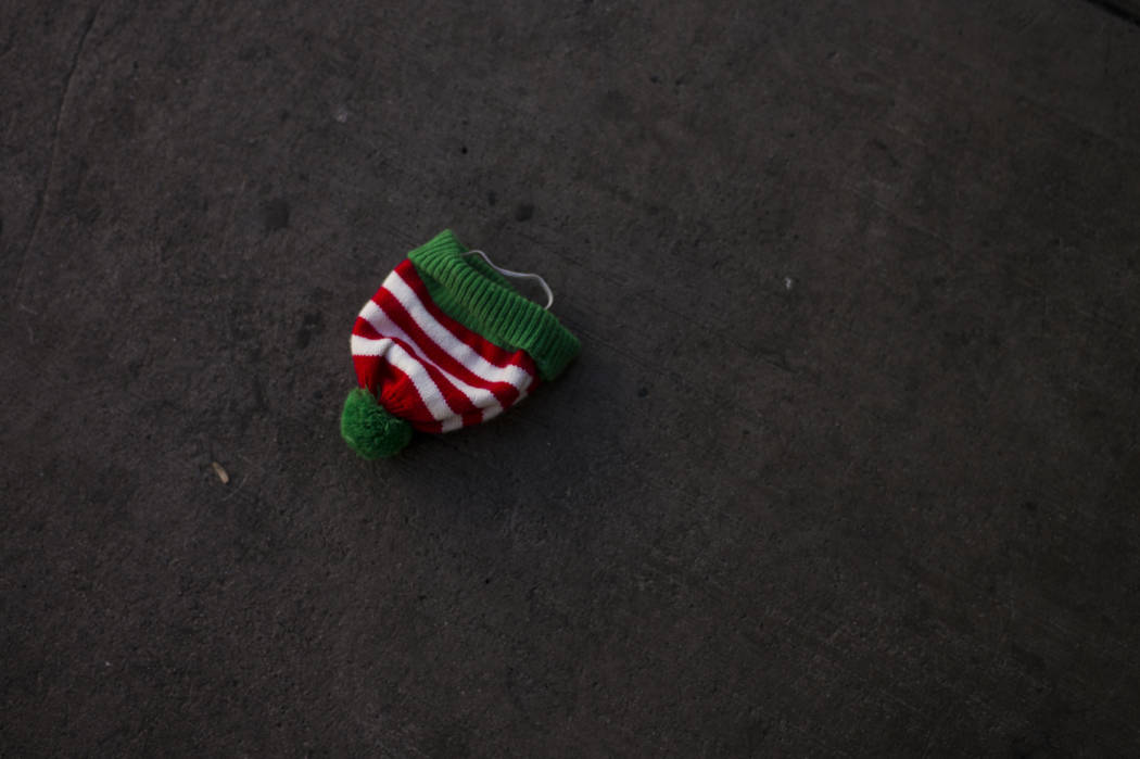 A hat left behind after the Las Vegas Great Santa Run in downtown Las Vegas on Saturday, Dec. 2, 2017. Chase Stevens Las Vegas Review-Journal @csstevensphoto