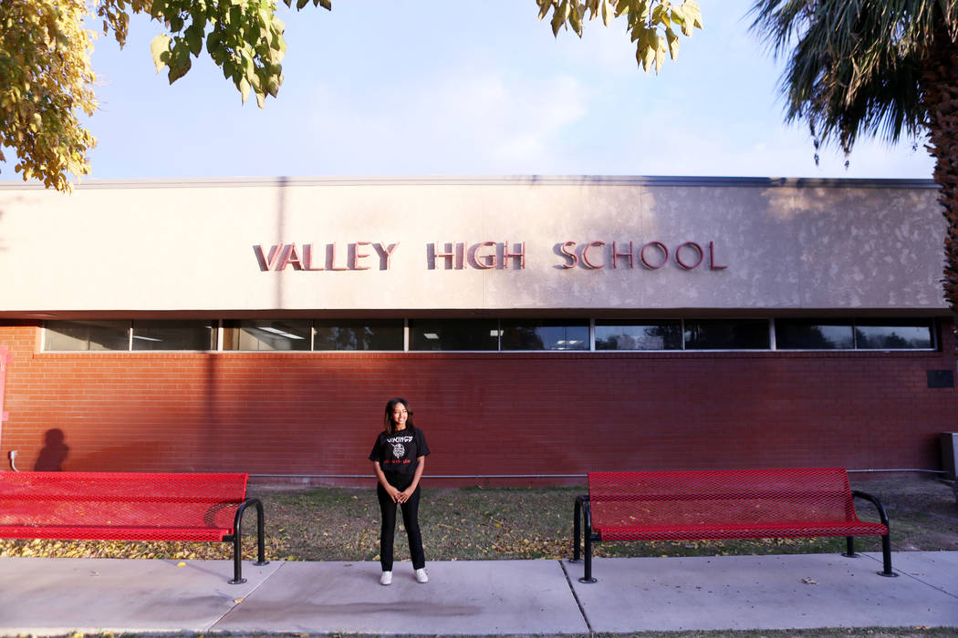 Valley High School junior Omega Gdeye in front of her school, Monday, Nov. 27, 2017, in Las Vegas. Elizabeth Brumley Las Vegas Review-Journal @EliPagePhoto