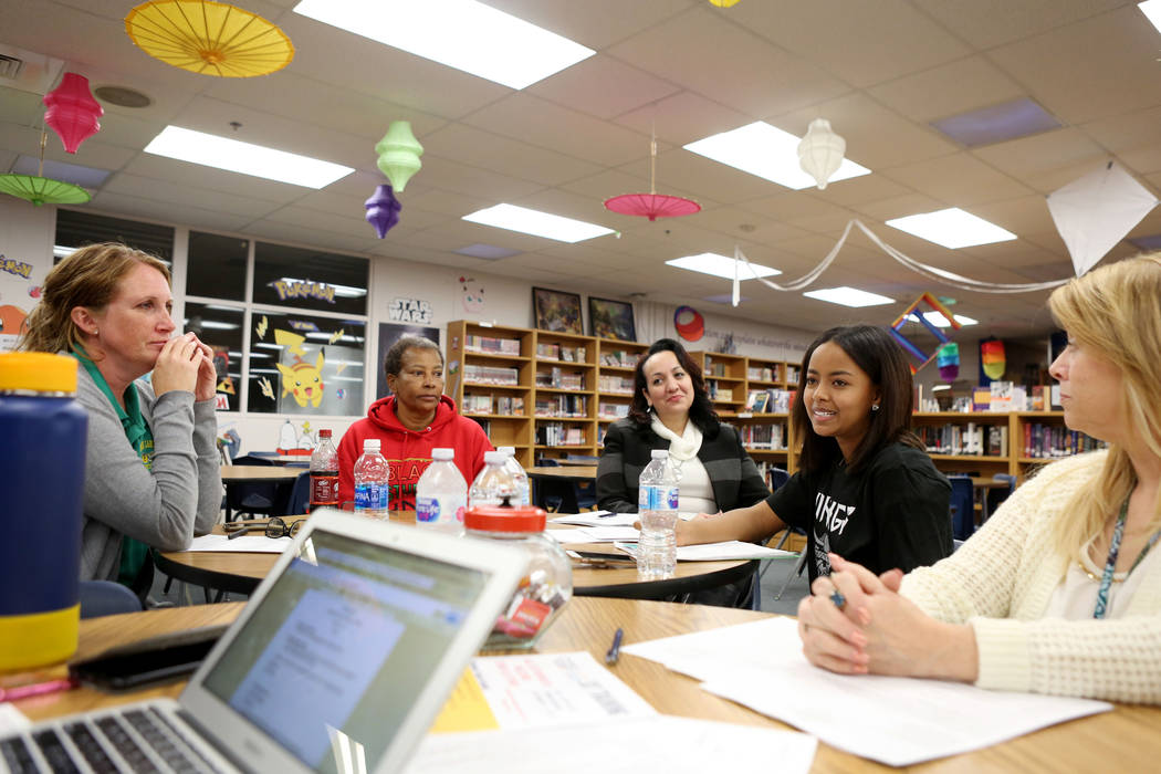 Valley High School junior Omega Gdeye leads a meeting for the school organizational team, Monday, Nov. 27, 2017 in Las Vegas. Elizabeth Brumley Las Vegas Review-Journal @EliPagePhoto