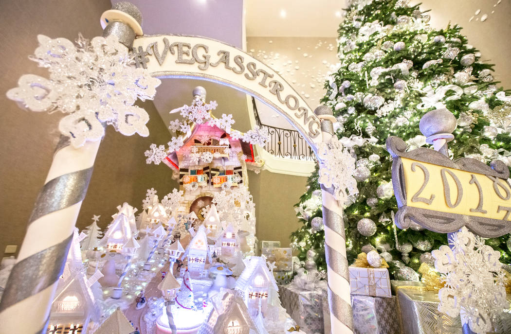 The winter village created by Four Seasons executive pastry chef Jean-Luc Daul in the lobby of the Las Vegas Strip hotel on Friday, Dec. 1, 2017. Benjamin Hager Las Vegas Review-Journal @benjaminh ...