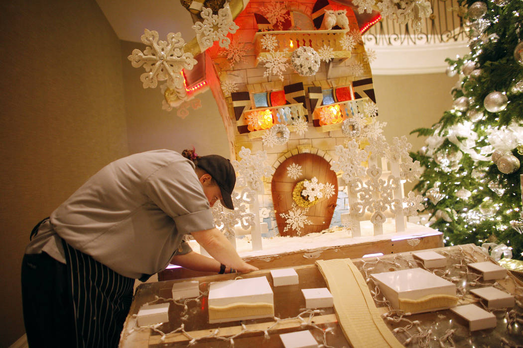 Pastry cook Mallory Jones prepares the base of the winter village at the Four Seasons in Las Vegas, Tuesday, Nov. 21, 2017. Rachel Aston Las Vegas Review-Journal @rookie__rae