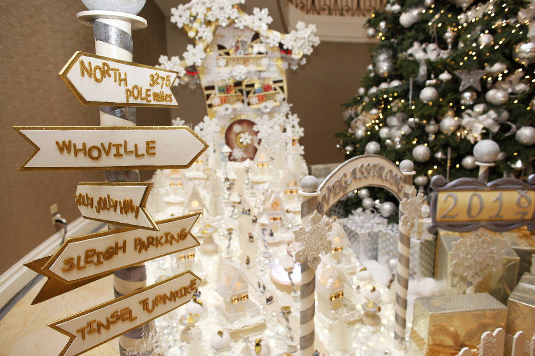The winter village at the Four Seasons in Las Vegas, Wednesday, Nov. 22, 2017. The frosting alone takes 250 pounds of powdered sugar and five gallons of egg whites. Rachel Aston Las Vegas Review-J ...